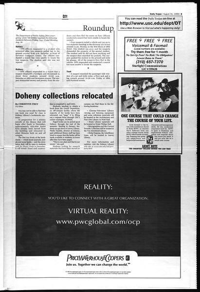 Daily Trojan, Vol. 138, No. 2, August 31, 1999