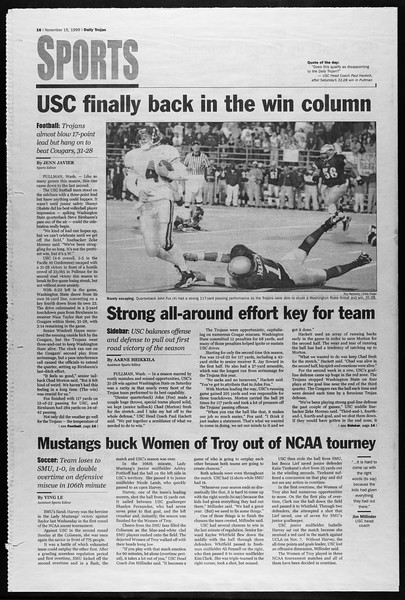 Daily Trojan, Vol. 138, No. 53, November 15, 1999