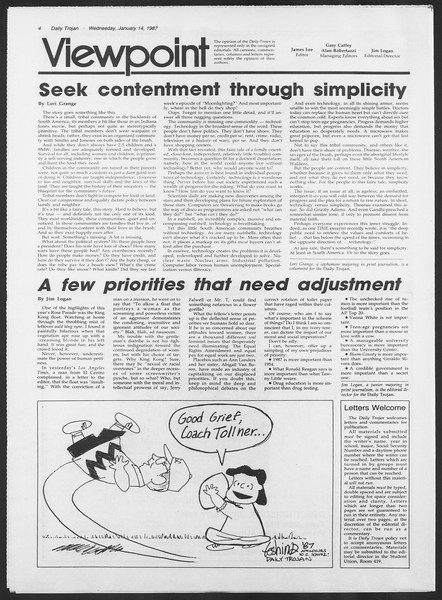 Daily Trojan, Vol. 103, No. 4, January 14, 1987
