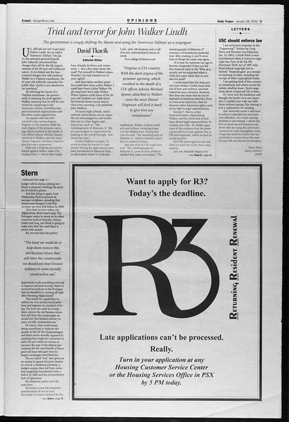 Daily Trojan, Vol. 145, No. 13, January 28, 2002