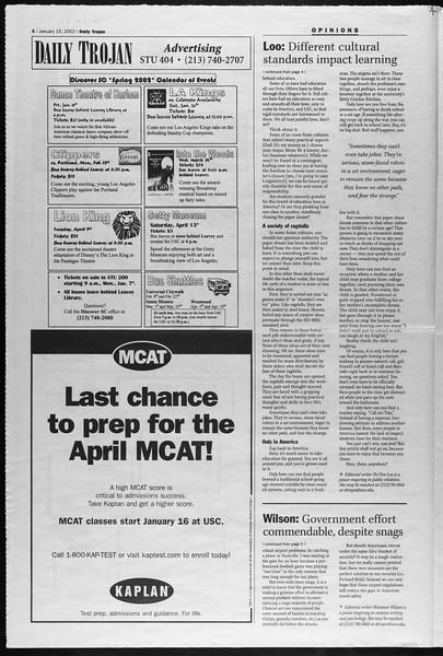 Daily Trojan, Vol. 145, No. 6, January 15, 2002