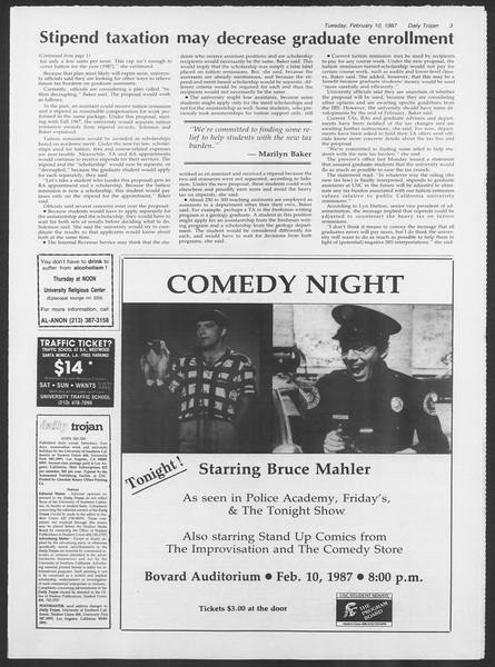 Daily Trojan, Vol. 103, No. 21, February 10, 1987