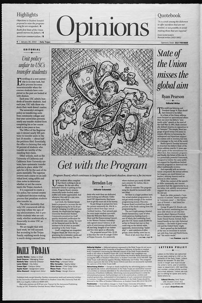 Daily Trojan, Vol. 145, No. 15, January 30, 2002