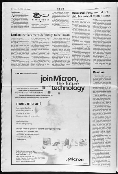 Daily Trojan, Vol. 147, No. 44, October 28, 2002