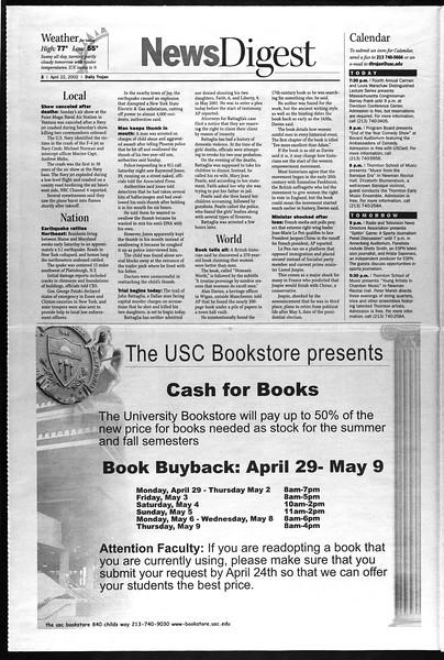 Daily Trojan, Vol. 145, No. 64, April 22, 2002