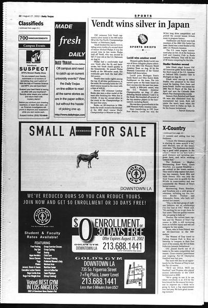 Daily Trojan, Vol. 147, No. 2, August 27, 2002