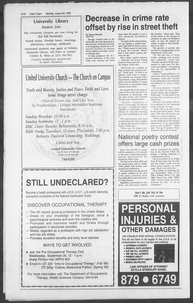 Daily Trojan, Vol. 110, No. 1, August 28, 1989