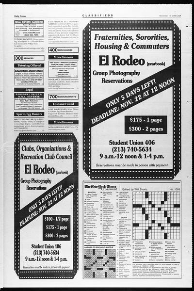 Daily Trojan, Vol. 159, No. 61, November 16, 2006