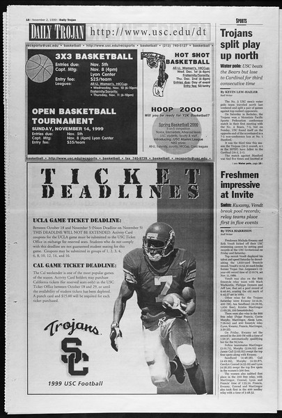 Daily Trojan, Vol. 138, No. 44, November 02, 1999