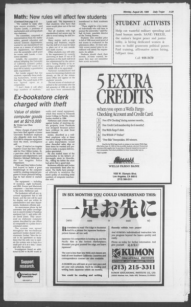 Daily Trojan, Vol. 110, No. 1, August 28, 1989