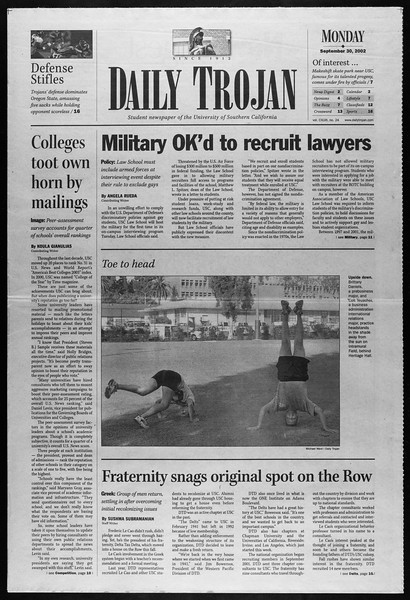 Daily Trojan, Vol. 147, No. 24, September 30, 2002
