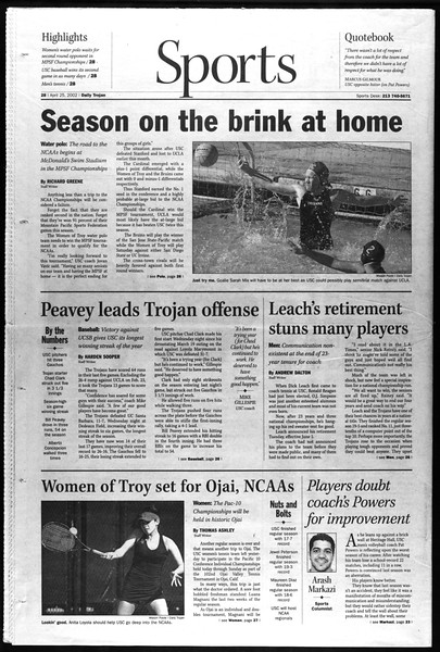 Daily Trojan, Vol. 145, No. 67, April 25, 2002