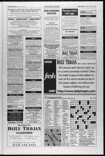 Daily Trojan, Vol. 145, No. 5, January 14, 2002