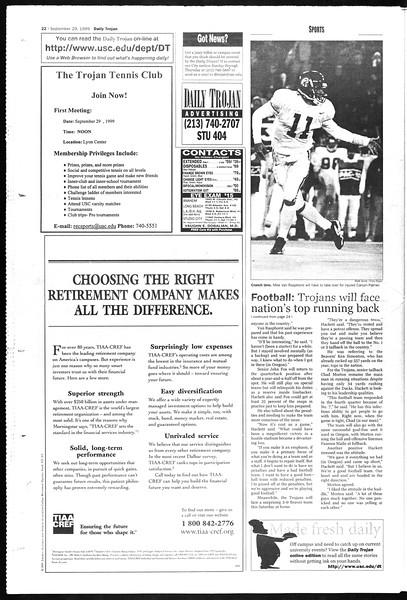 Daily Trojan, Vol. 138, No. 21, September 29, 1999