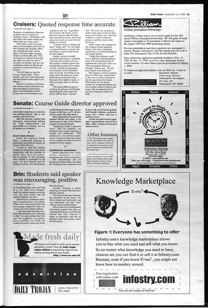 Daily Trojan, Vol. 138, No. 11, September 15, 1999