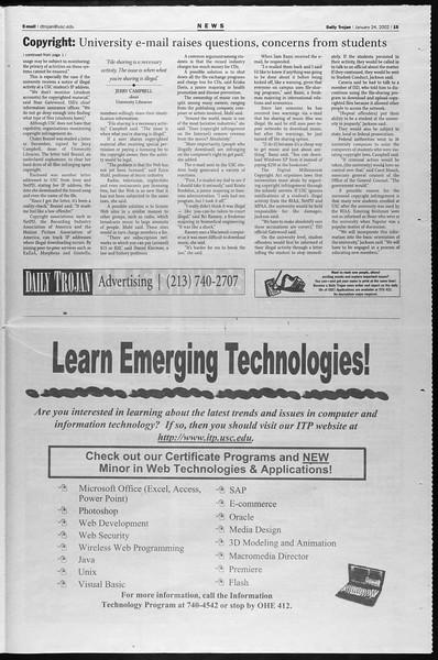 Daily Trojan, Vol. 145, No. 11, January 24, 2002