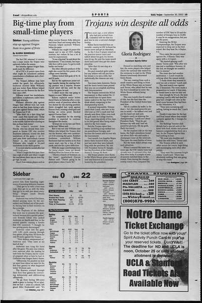 Daily Trojan, Vol. 147, No. 24, September 30, 2002