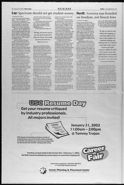 Daily Trojan, Vol. 145, No. 15, January 30, 2002