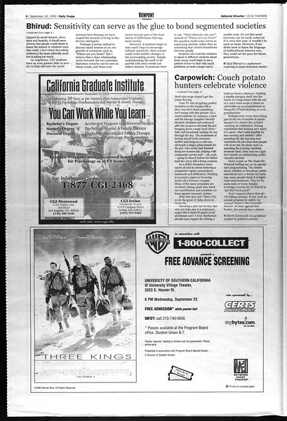 Daily Trojan, Vol. 138, No. 12, September 16, 1999