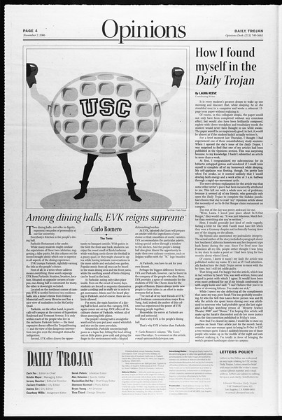 Daily Trojan, Vol. 159, No. 52, November 02, 2006
