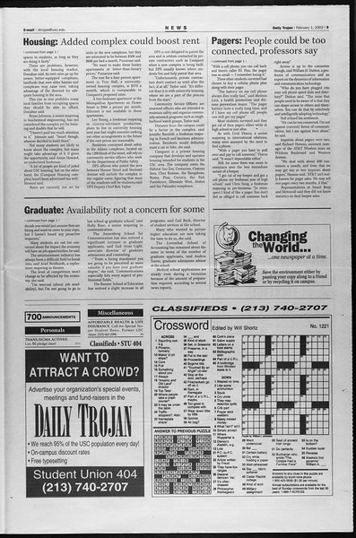 Daily Trojan, Vol. 145, No. 17, February 01, 2002