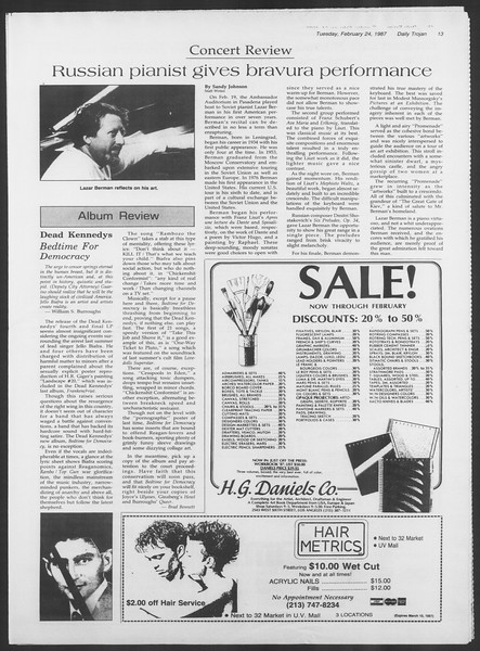 Daily Trojan, Vol. 103, No. 29, February 24, 1987