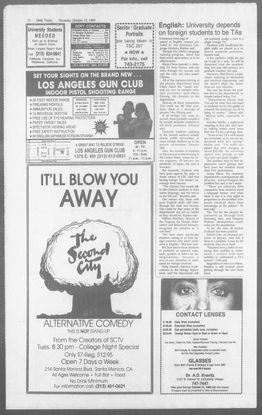 Daily Trojan, Vol. 110, No. 28, October 12, 1989