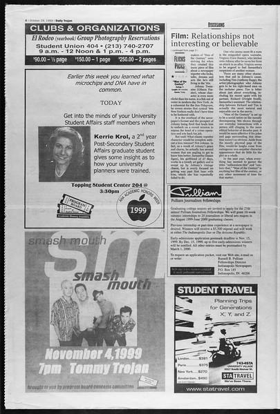 Daily Trojan, Vol. 138, No. 43, October 29, 1999
