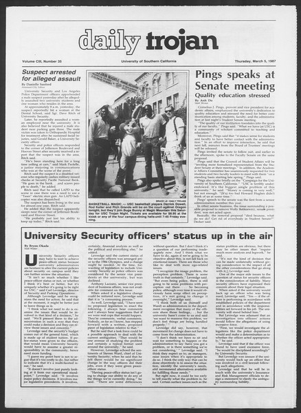 Daily Trojan, Vol. 103, No. 36, March 05, 1987