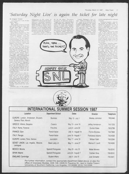 Daily Trojan, Vol. 103, No. 41, March 12, 1987