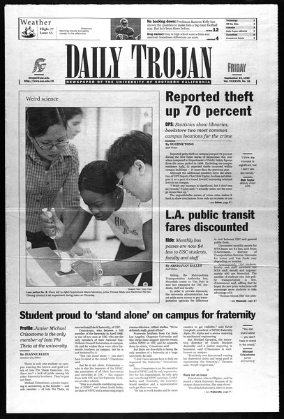 Daily Trojan, Vol. 138, No. 18, September 24, 1999
