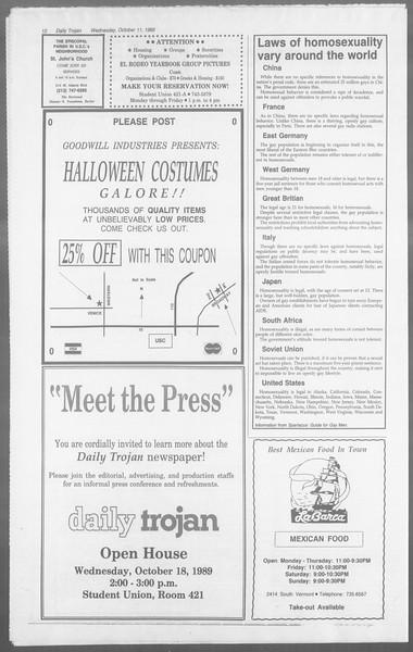 Daily Trojan, Vol. 110, No. 27, October 11, 1989