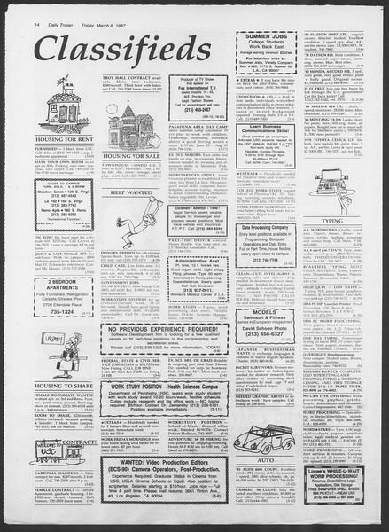Daily Trojan, Vol. 103, No. 37, March 06, 1987