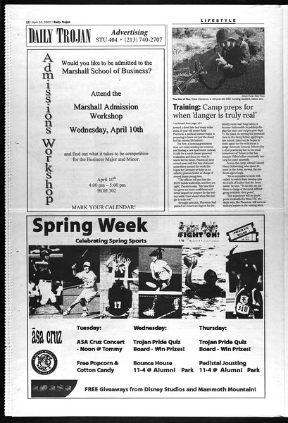 Daily Trojan, Vol. 145, No. 56, April 10, 2002