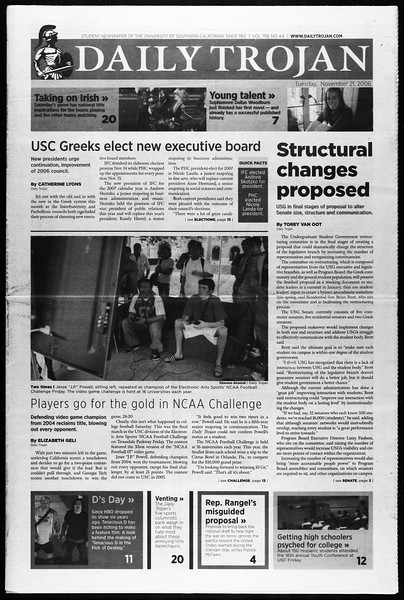 Daily Trojan, Vol. 159, No. 64, November 21, 2006