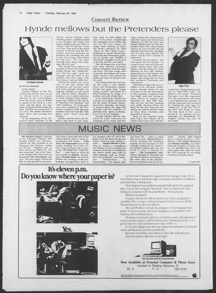 Daily Trojan, Vol. 103, No. 29, February 24, 1987