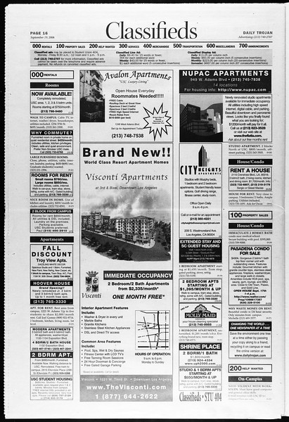 Daily Trojan, Vol. 159, No. 20, September 19, 2006