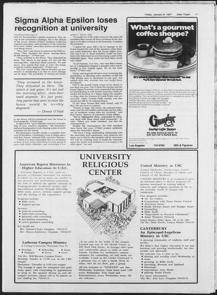 Daily Trojan, Vol. 103, No. 1, January 09, 1987