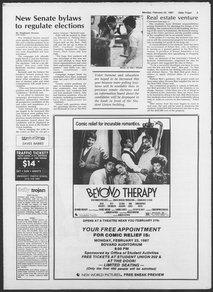 Daily Trojan, Vol. 103, No. 28, February 23, 1987