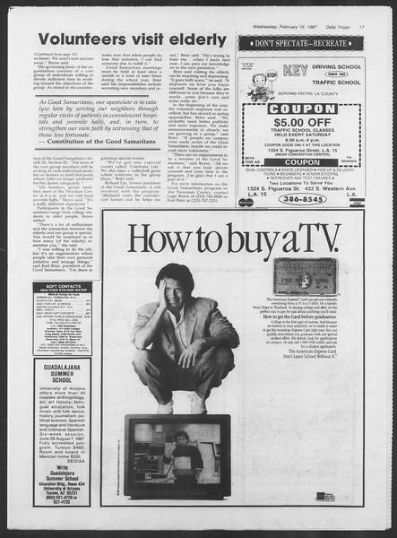 Daily Trojan, Vol. 103, No. 25, February 18, 1987