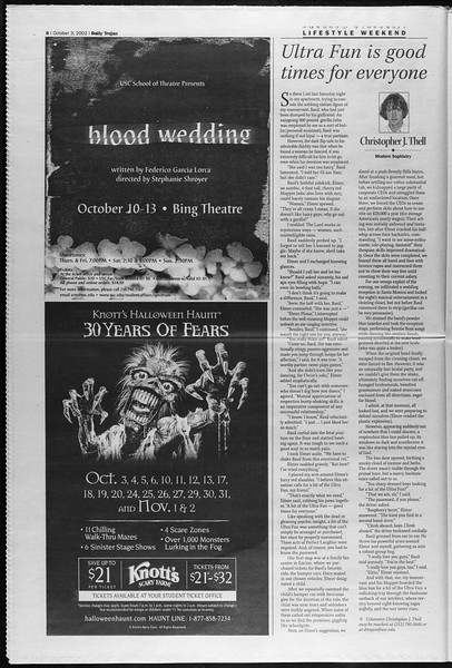 Daily Trojan, Vol. 147, No. 27, October 03, 2002