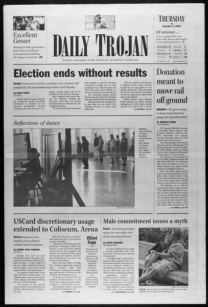 Daily Trojan, Vol. 147, No. 27, October 03, 2002