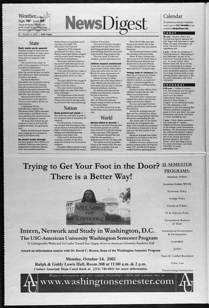 Daily Trojan, Vol. 147, No. 31, October 09, 2002