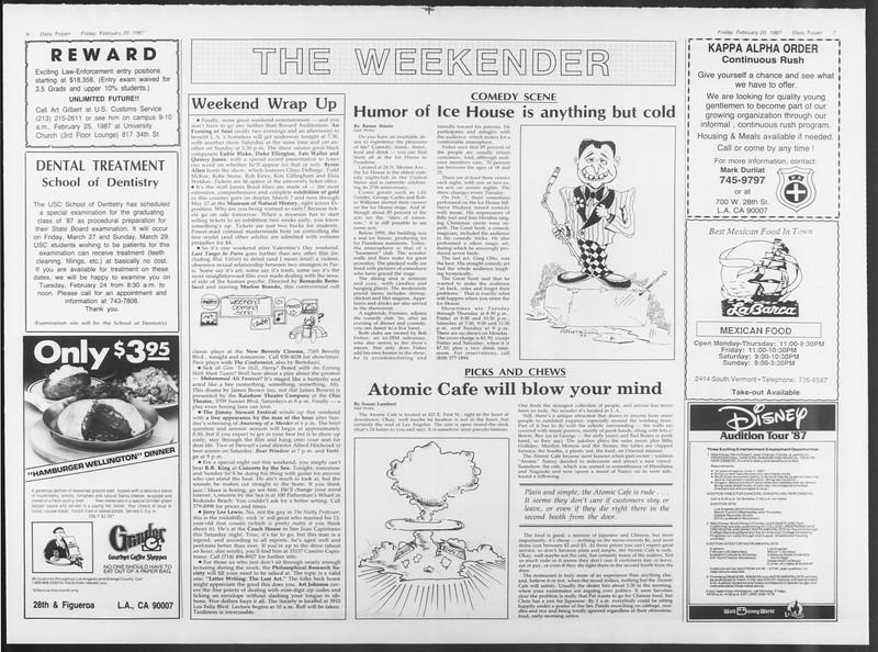 Daily Trojan, Vol. 103, No. 27, February 20, 1987
