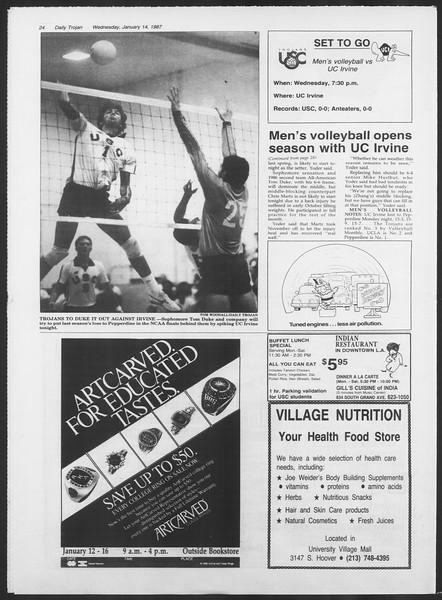 Daily Trojan, Vol. 103, No. 4, January 14, 1987