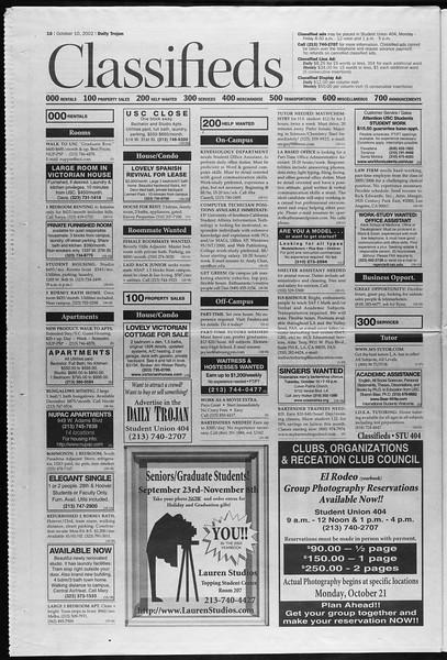 Daily Trojan, Vol. 147, No. 32, October 10, 2002