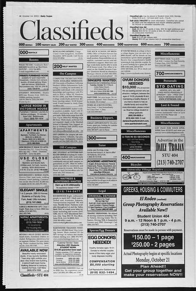 Daily Trojan, Vol. 147, No. 34, October 14, 2002