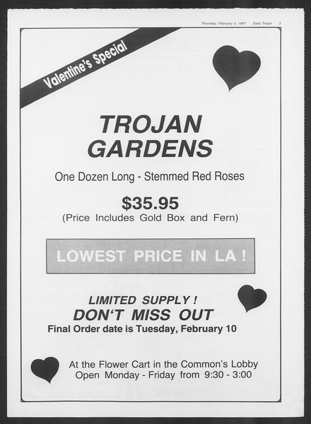 Daily Trojan, Vol. 103, No. 18, February 05, 1987