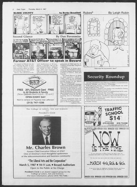 Daily Trojan, Vol. 103, No. 36, March 05, 1987