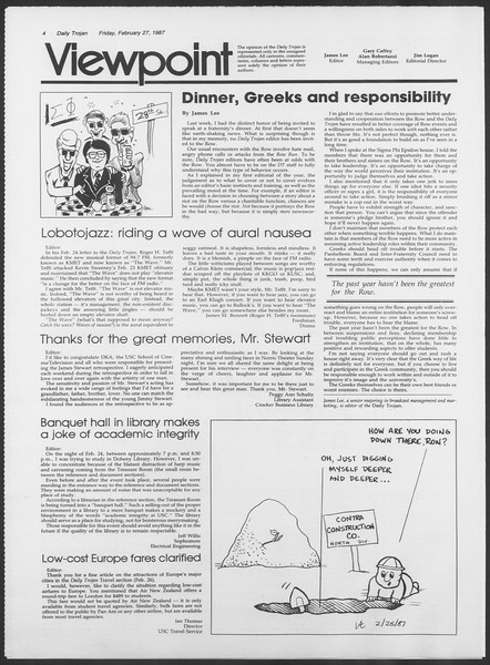 Daily Trojan, Vol. 103, No. 32, February 27, 1987